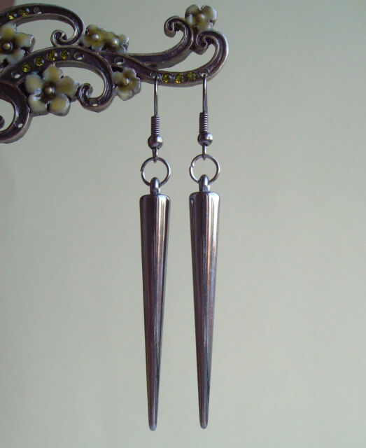 Gunmetal Black Spike Dangly Drop Earrings - Gothic Punk Rock Chick