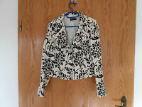 PROMISS - Schicke Jacke in Gr.: 38 - Weiß/Schwarz - 100% Leinen - Wenig getragen