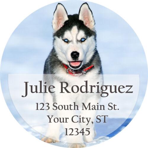 60 Husky Puppy Cute Dog Snow Husky Personalized Return Address Labels