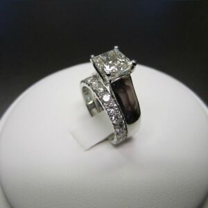 1-50-Ct-Princess-Cut-D-VVS1-Diamond-Bridal-Set-Engagement-Ring-14K-White-Gold-Fn