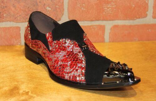 ZOTA UNIQUE Men/'s Red//Silver//Black Leather Fashion Slip On Shoe G736-13A