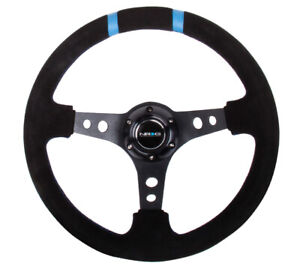 NRG-REINFORCED-STEERING-WHEEL-350MM-SUEDE-3IN-BLACK-FOR-W-DOUBLE-STRIPES
