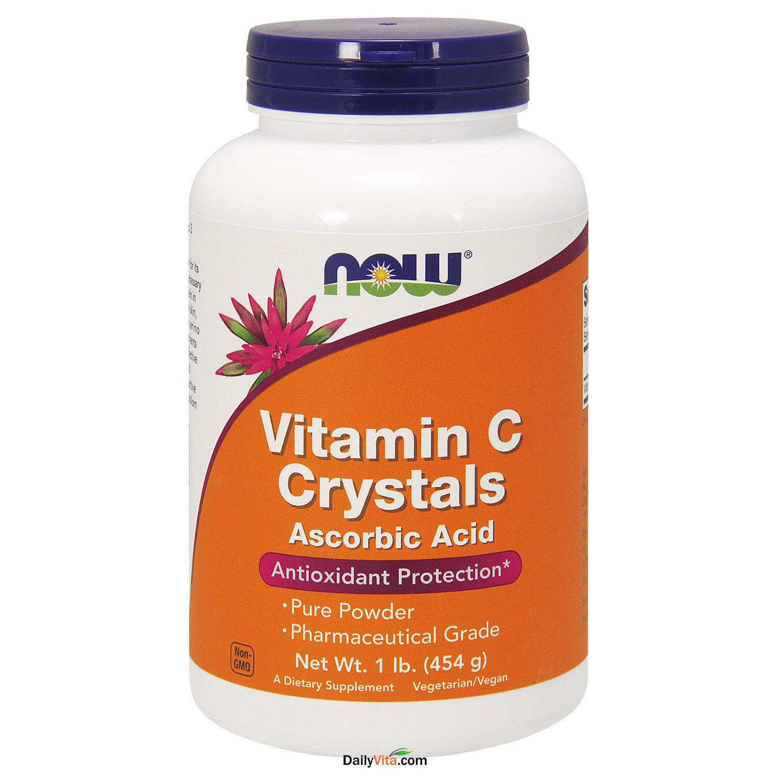 3 x NOW Vitamin C Crystals 1 lb, 100% Pure Ascorbic Acid Powder 1 lb, USP, FRESH 733739007926   eBay