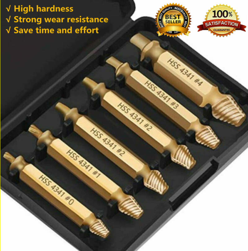 6x Broken Screw Extractor Remover Tool Speed Out Drill Bits Damaged Stripped UK