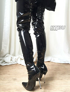 special section fast delivery quality products Details about 12cm Silver Metal Heel 70cm Crotch length Show Boot Back  Corset Patent Shiny PVC