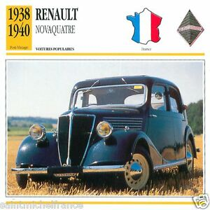RENAULT-NOVAQUATRE-1938-1940-CAR-VOITURE-FRANCE-CARTE-CARD-FICHE