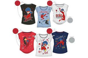 Miraculous-T-Shirt-Kurzarm-Maedchen-Top-Ladybug-Cat-Noir-Gr-110-116-128-140-Neu