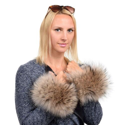 Pair of Luxury Genuine Raccoon Fur Cuffs NEW Fur Wristbands FOX