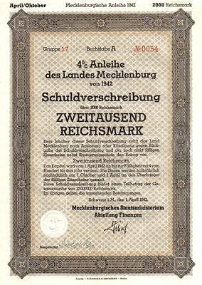 Germany NAZI Mecklenburg 4/% bond 1942 2.000RM Schwerin cancelled