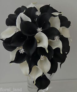 Image Is Loading Wedding Bouquet Latex Black White Diamante Calla Lily