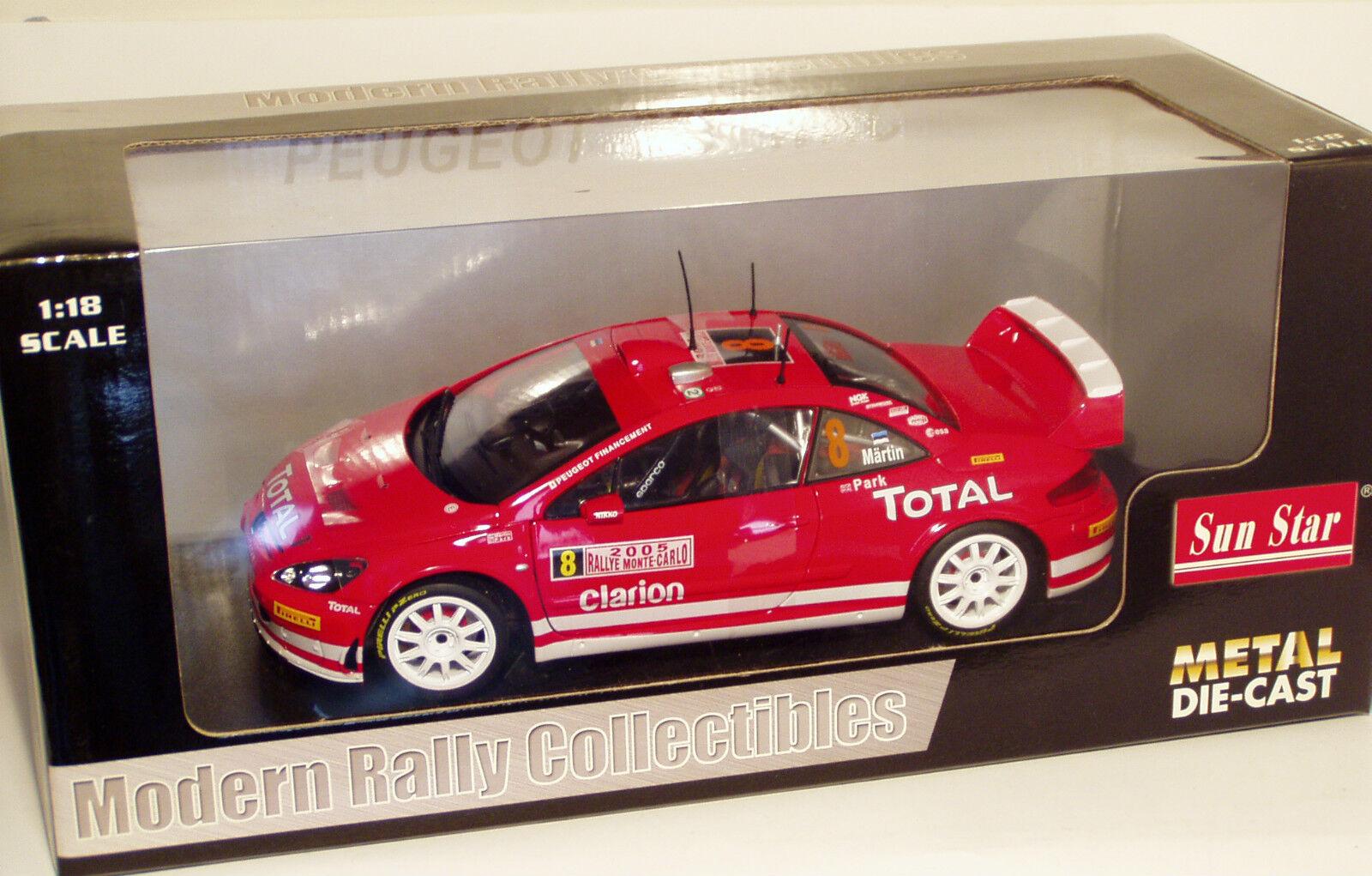 1 18 PEUGEOT 307 WRC total RALLYE MONTE CARLO 2005 M. MARTIN M. Park