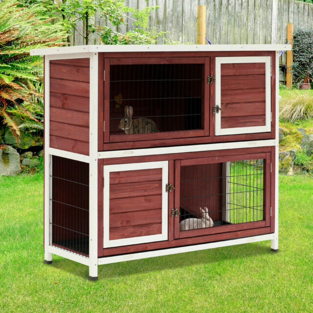 Pawhut 48 2 Story Elevated Wooden Rabbit Hutch Yard Bunny Cage W Tray Ramp For Sale Online Ebay