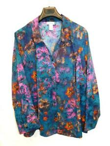 Catherines 3X 26W 28W Blue Orange Pink Floral Blouse Long Sleeve Shirt V Neck 3X