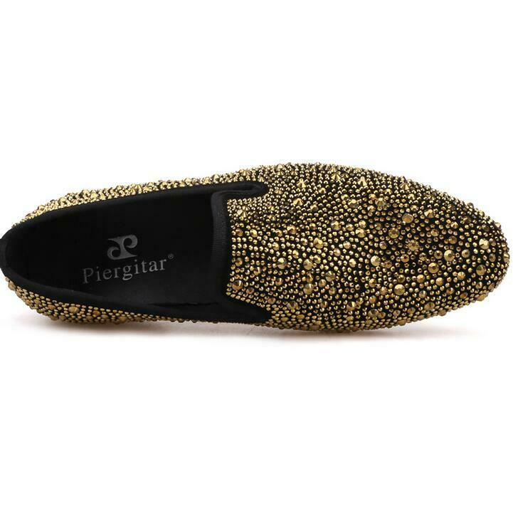 Fashion Men breathable Suede shiny rhinestone Flat loafers nightclub party shoes