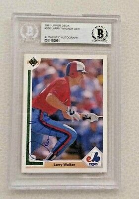 Montreal Expos Larry Walker Signed Autographed 1991 Upper Deck Baseball Card
