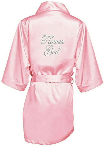 Pink Flower Girl Rhinestone Satin Robe Factory Seconds $10.95 DEAL!