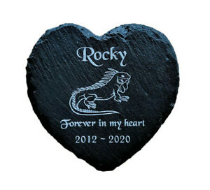 Personalised-Engraved-Slate-Heart-Pet-Memorial-Grave-Marker-Plaque-Lizard-Iguana