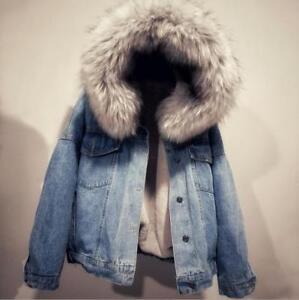 pour denim fourrure d'hiver femmes capuchon épaisseur en à bt0 en à double col manteaux Manteau w8A5qCx