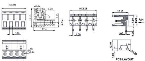 50Pcs 5.08 mm pitch angle droit 4 broches 4 voies à vis Bornier Connecteur