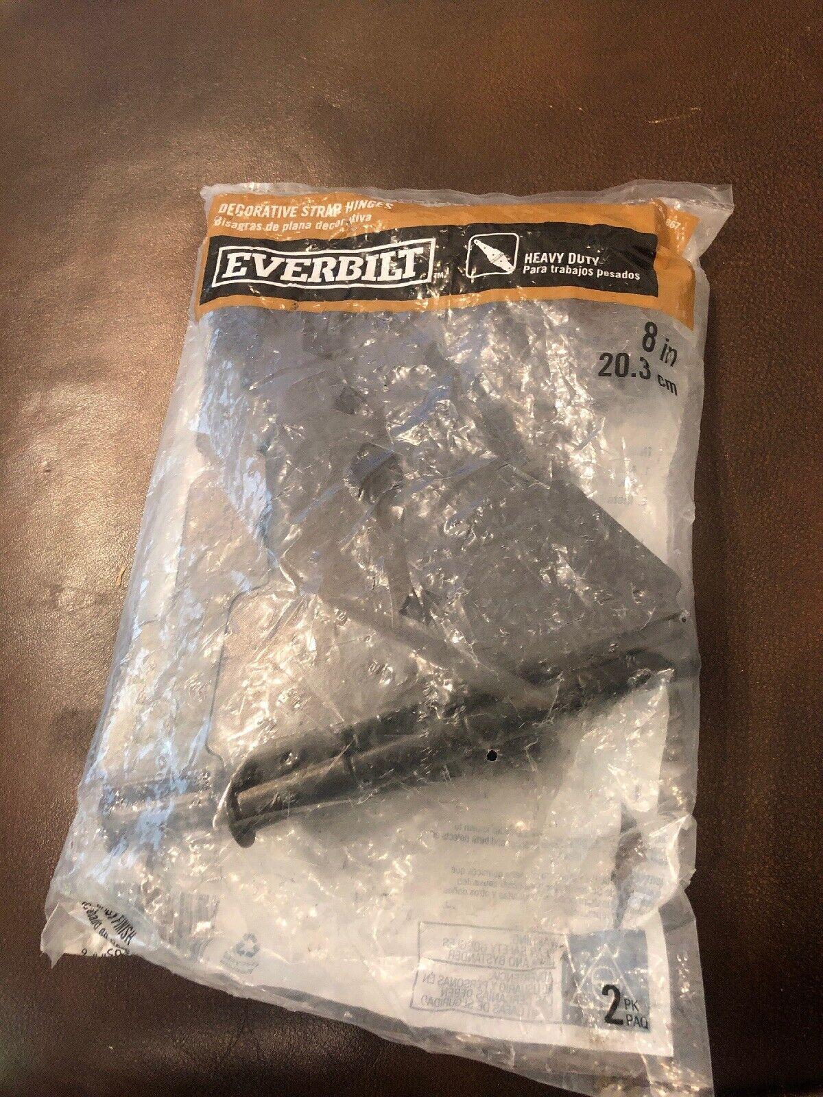 "Everbilt 18105 8/"" Black Heavy Duty Decorative Strap Hinges 2-PK steel Black"