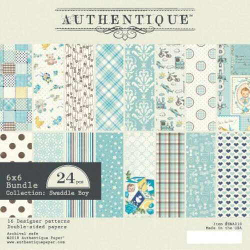"""Authentique Double-Sided Cardstock Pad 6/""""X6/"""" 24//Pkg Swaddle Boy 792834842467"""