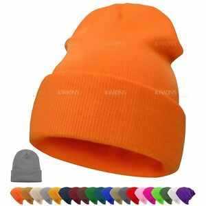 Short-Beanie-Knit-Ski-Cap-Skull-Hat-Winter-Warmer-Solid-Color-Men-Women-039-s-Hats