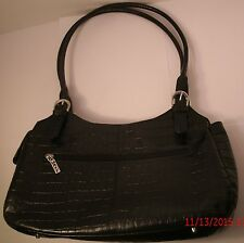 Maxx New York Large Black Croco-Leather Satchel Hobo Tote Purse Shoulder Bag
