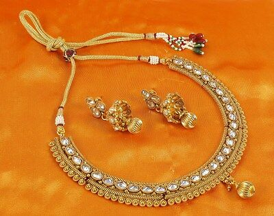 2012 South Indian Bollywood Gold Tone Ethnic Polki Necklace Jewelry Earring Set