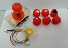 JAPAN Sanwa Clear Red Joystick GT-Y Wire Push-buttons x 6 Video Game Parts Set