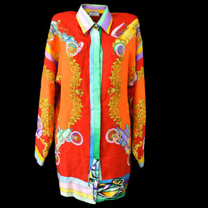 Authentic-VERSACE-Vintage-Long-Sleeve-Tops-Shirt-Tops-Orange-Silk-38-AK31946