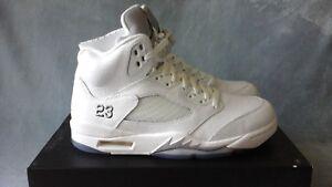 official photos ac0b2 130af Image is loading Nike-Air-Jordan-5-Retro-White-Metallic-Silver-