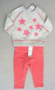 BNWTS-M-amp-Co-Baby-Girls-Grey-Jumper-Pink-Sequin-Stars-amp-Leggings-Outfit-0-3-months