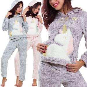 Pigiama-donna-intimo-caldo-invernale-pantaloni-maglia-UNICORNO-cappuccio-BE-9153