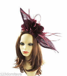 Image is loading Burgundy-Fascinator-Hat-for-weddings-ascot-E3 22a0eb09351