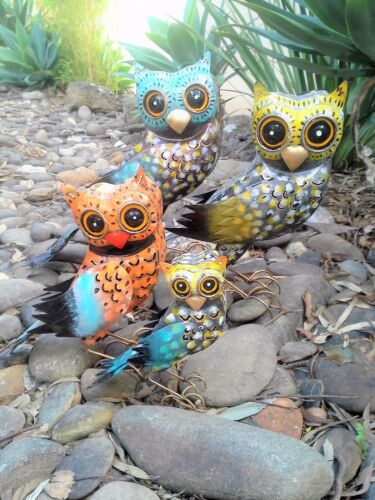 Hand Painted Owls Set of 4 Candle Holders