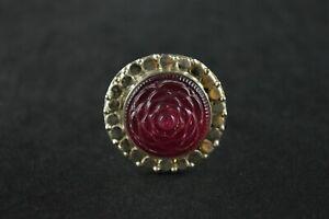 100% Vrai Vintage Sterling Silver Pointillée Round Ring W Pink Rose Stone - 7 G-afficher Le Titre D'origine Un BoîTier En Plastique Est Compartimenté Pour Un Stockage En Toute SéCurité