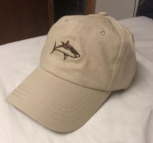 Shark Fishing Dad Hat Leather Strap Adjustable Khaki Brown