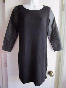 0955d861289e Image is loading Zara-Knit-Black-3-4-Faux-Leather-Sleeve-. Zara Trafaluc  Burnt Orange Ribbed Knit Dress. M_5a5599f99a945571370853d4