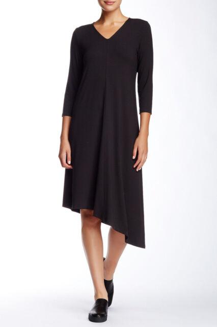 966947b8bcde A8 Eileen Fisher Black Deep V-neck Asymmetric Hem Jersey Dress Size ...