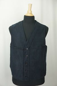 Filson Moleskin Style 10059 100% Cotton Navy Blue Mens Vest Sz 42 Made USA