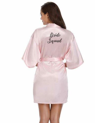 Bride Satin Bridal Party Wedding Robe Bridesmaid Maid of Honour Squad Team Gown