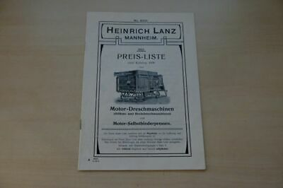 199776) Lanz - Dreschmaschine Presse Preisliste - Prospekt 1913