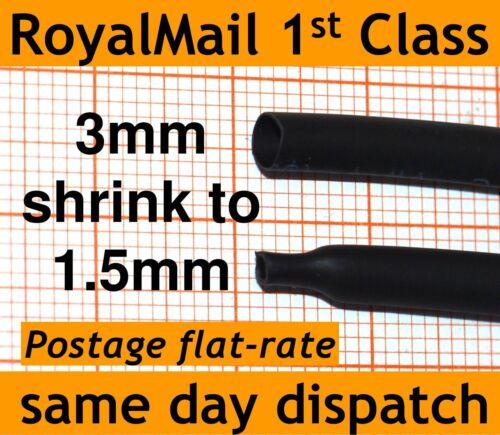 shrinking to 1.5mm ID Heat Shrink Tube 3mm ID Heatshrink tubing Black and Red