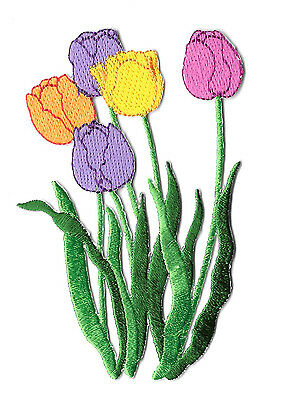 Embroidered Iron On Applique Patch Flowers Tulips Garden Spring