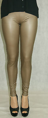 SEXY CAPPUCCINO STRETCHY HIGH WAIST RUBBER FEEL LEGGINGS INC PLUS SIZES 8-22