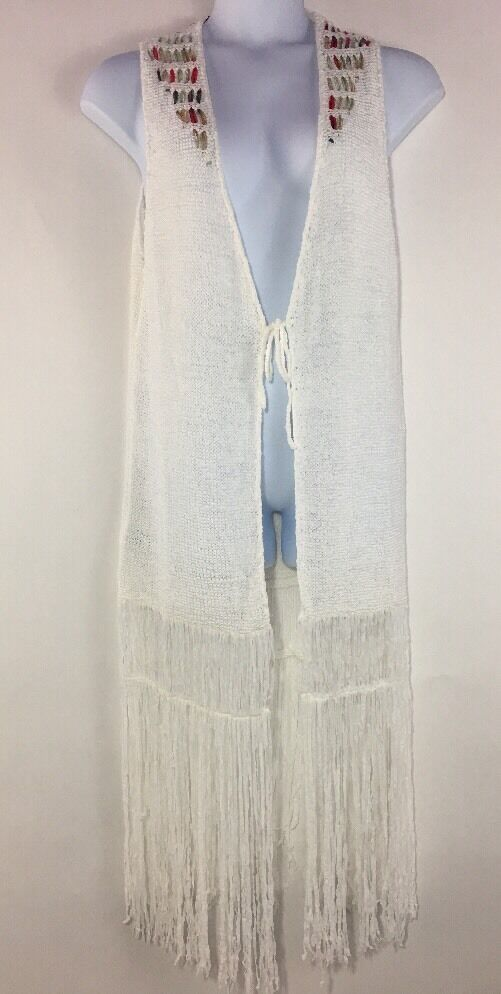 BCB Generation Sleeveless Fringed Knit Sweater Large White Long Open Front Tie