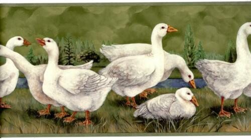 White Geese Creek Forest Tree Green Teal Blue Country kitchen Wallpaper Border