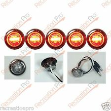 "5 NEW 3/4"" CLEAR/RED LED CLEARANCE MARKER BULLET LIGHTS W/ 316SS TRIM RING"