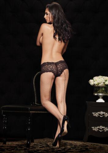 Burlesque Pantyhose Leg Avenue Black//Red or Nude//Black Backseam Fishnet Tights