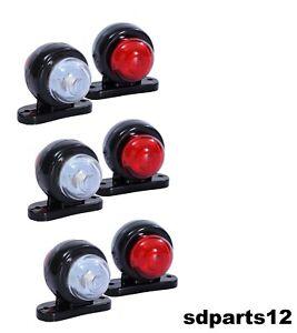 6-X-12V-Rouge-Blanc-Petit-LED-Feux-de-Gabarit-Camion-Caravane-Remorques